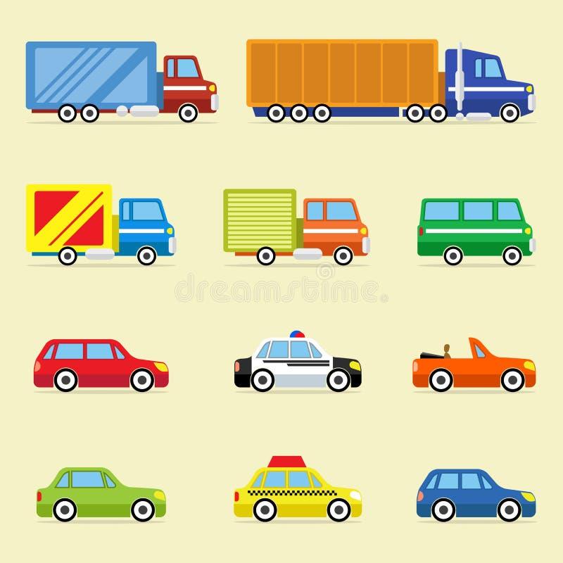 Wektorowa Płaska ikona Ustawiająca Nowożytni pojazdy royalty ilustracja