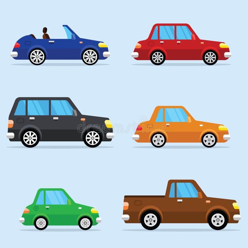 Wektorowa Płaska ikona Ustawiająca Nowożytni pojazdy ilustracja wektor