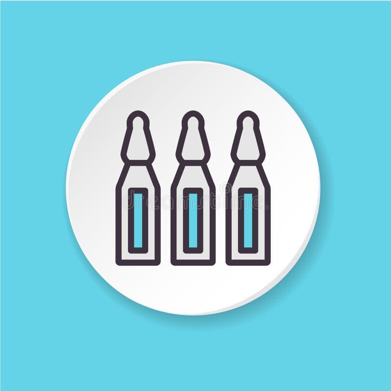 Wektorowa płaska ikony szczepionka Guzik dla sieci app lub wiszącej ozdoby UI/UX interfejs użytkownika royalty ilustracja