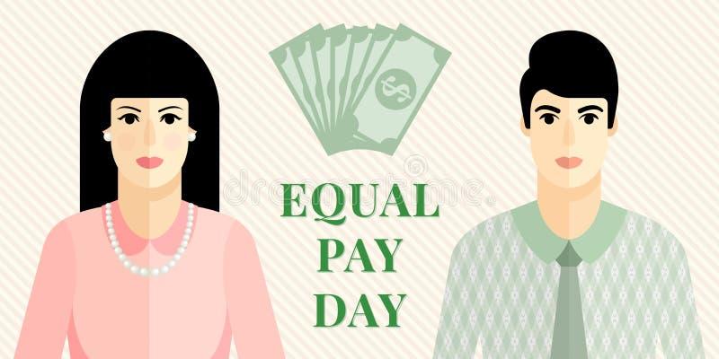 Wektorowa płaska ilustracja dla równa płaca dnia ilustracji