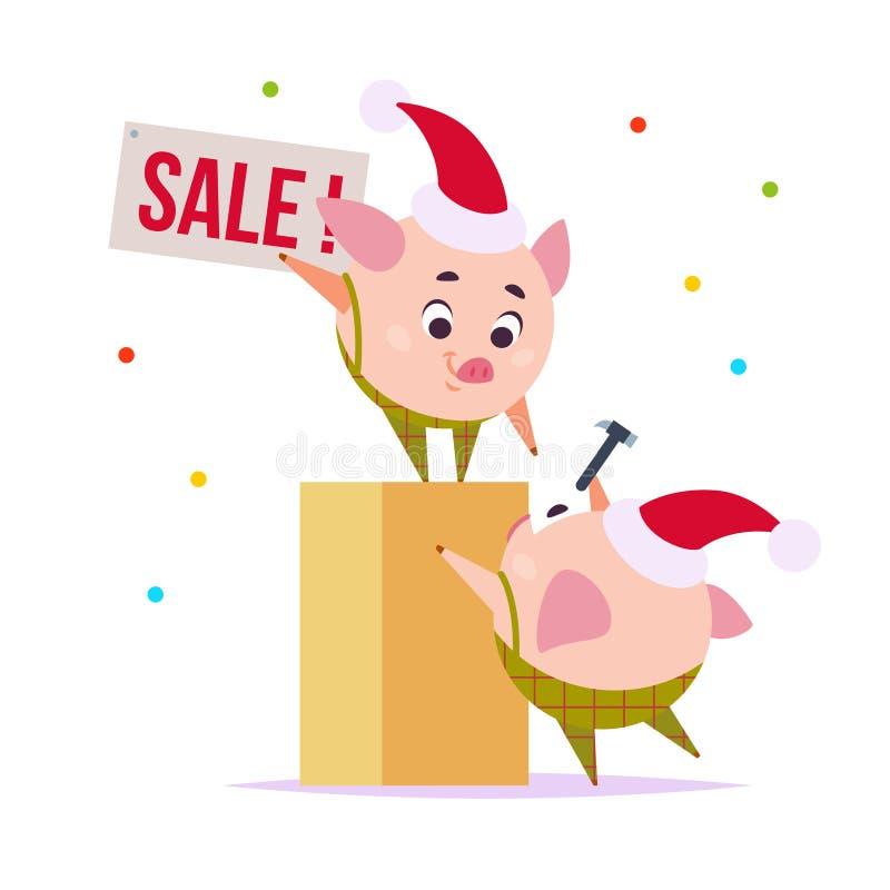 Wektorowa płaska ilustracja dwa śmieszny mały świniowaty elf w Santa sprzedaży kapeluszowej wiszącej zakładce odizolowywającej na ilustracji