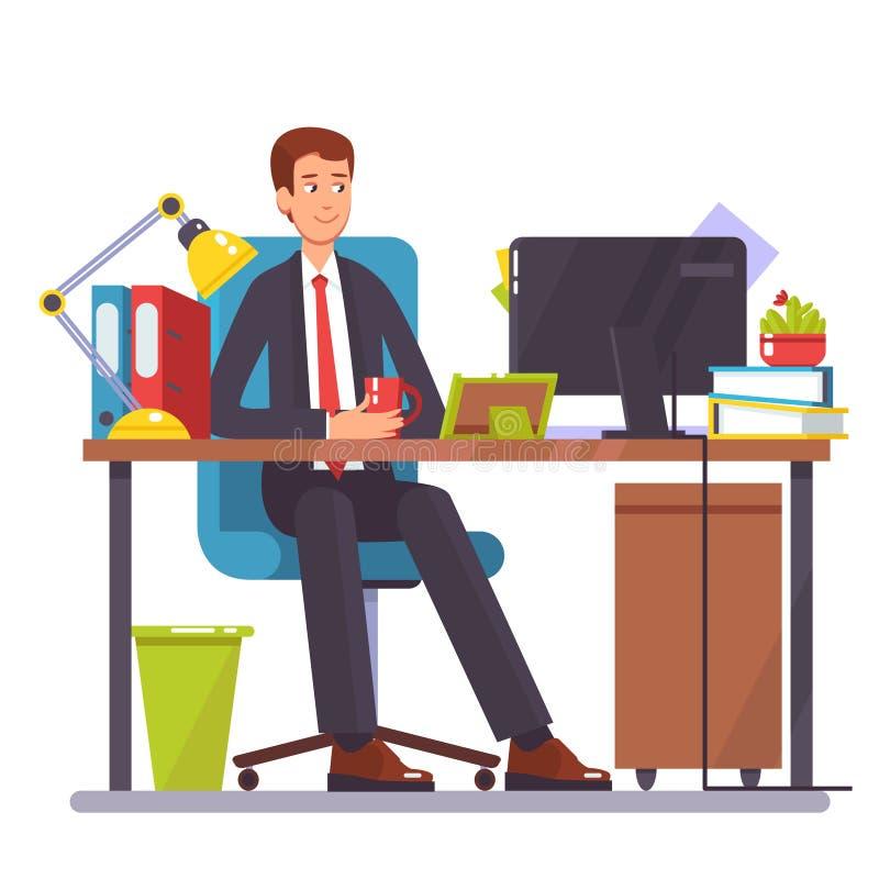 Wektorowa płaska ilustracja mężczyzna pracuje na komputerze ilustracja wektor
