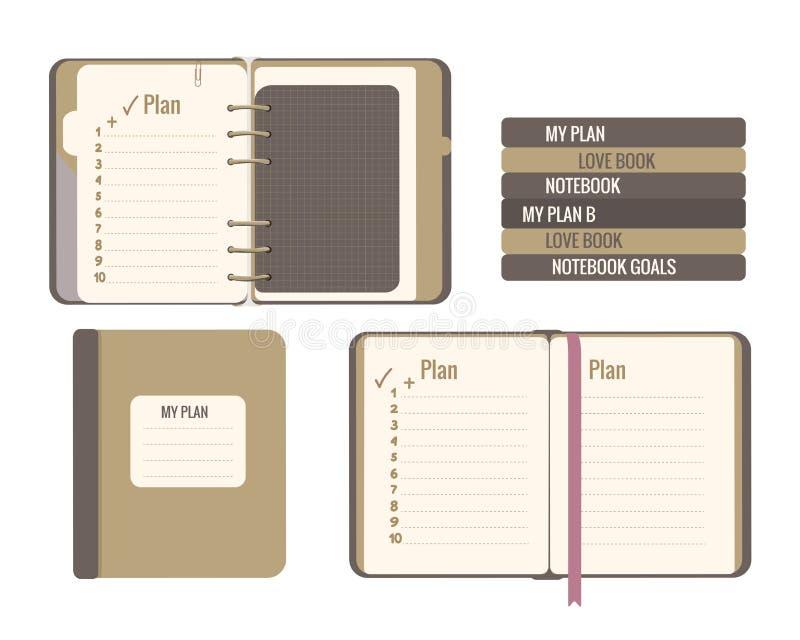 Wektorowa płaska ilustracja odizolowywająca na bielu Szkolny bibliografia planu copybook notepad workbook royalty ilustracja