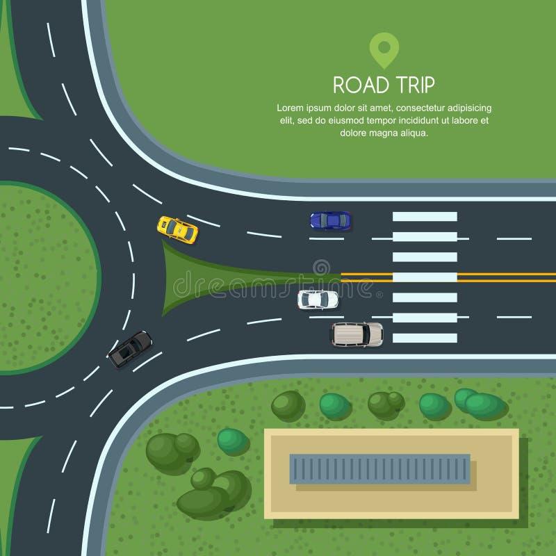 Wektorowa płaska ilustracja ronda drogowy złącze i miasto transport Miasto droga, samochody, crosswalk odgórny widok royalty ilustracja
