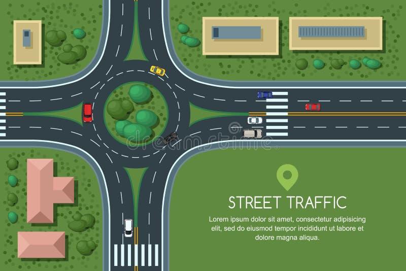 Wektorowa płaska ilustracja ronda drogowy złącze i miasto transport Miasto droga, samochody, crosswalk odgórny widok ilustracji