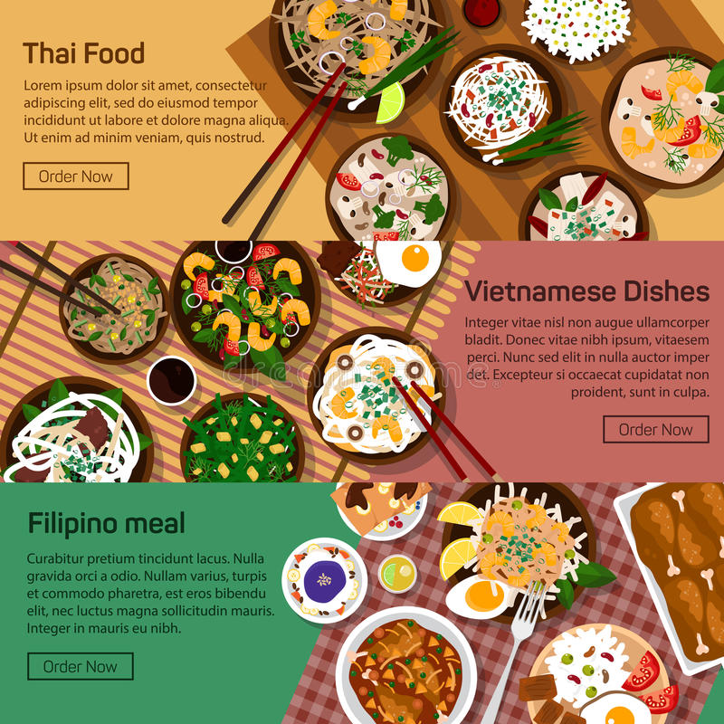 Wektorowa płaska ilustracja tajlandzki, Vietnam ilustracja wektor
