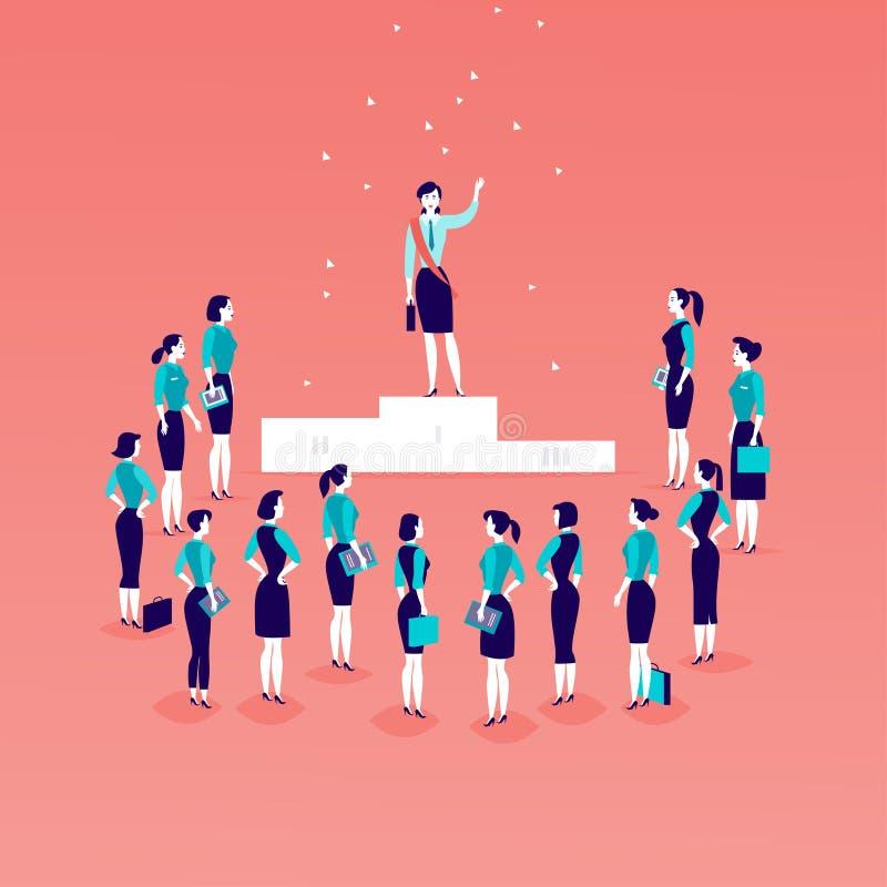 Wektorowa płaska ilustracja z pomyślną biznesową damy pozycją na podium przed biurowymi kobietami i biznesowe damy tłoczymy się i royalty ilustracja
