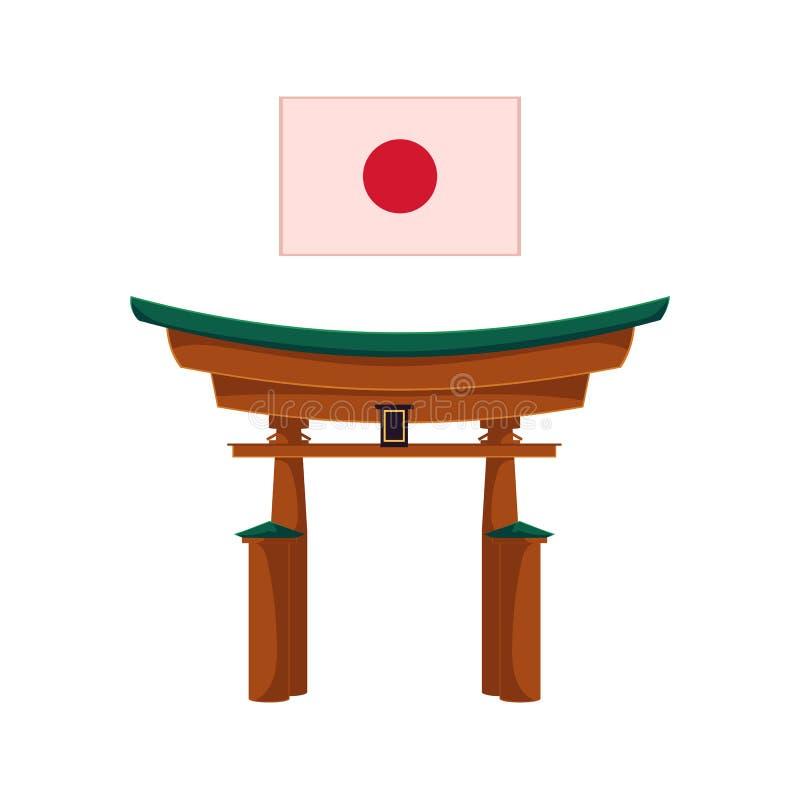 Wektorowa płaska japońska torii bramy ikona odizolowywająca ilustracji
