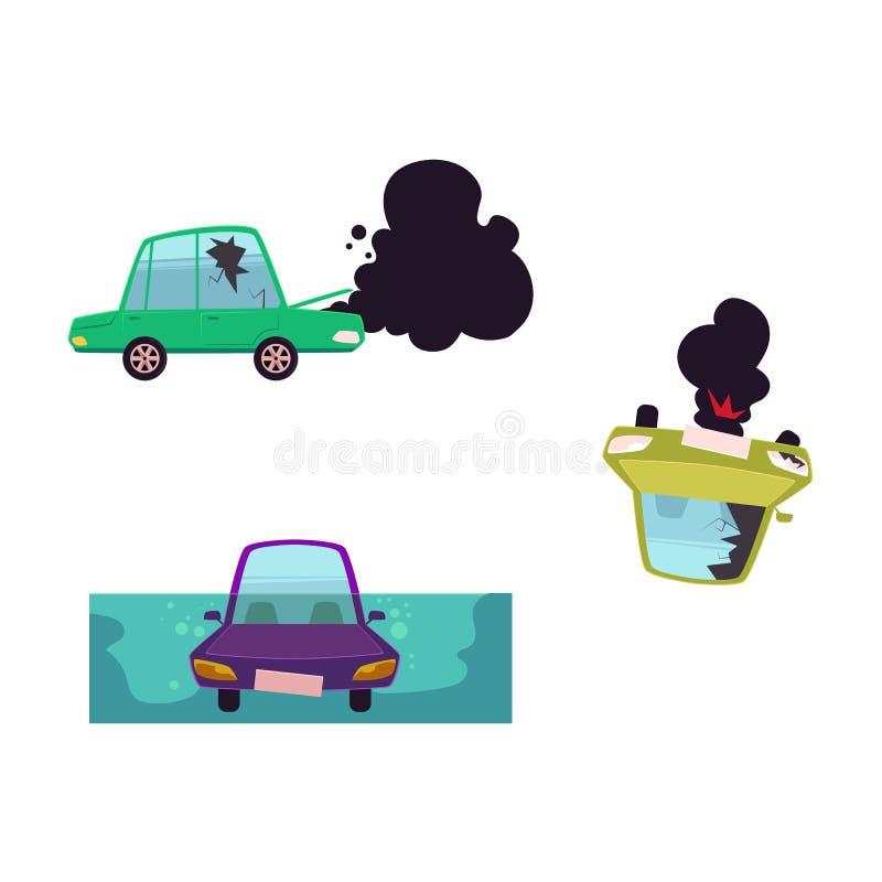 Wektorowa płaska kreskówka łamająca, tonący samochodu set ilustracji