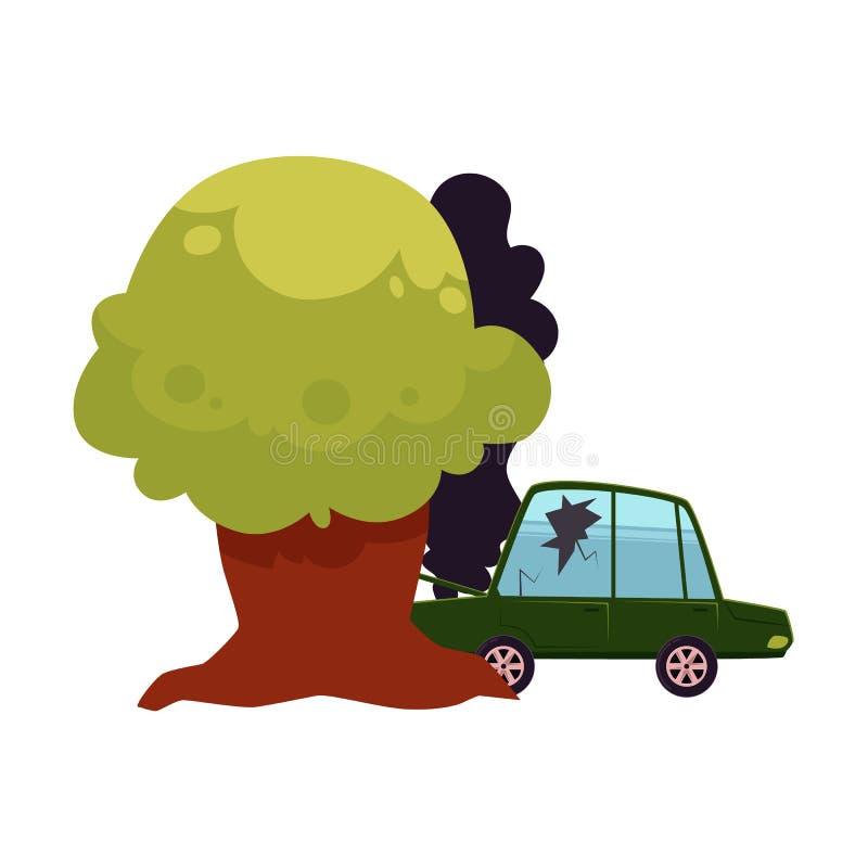 Wektorowa płaska kreskówka rozbijał w drzewnego wypadek samochodowego royalty ilustracja