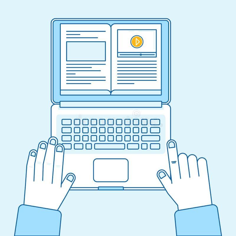 Wektorowa płaska liniowa ilustracja w błękicie barwi - uczący się online royalty ilustracja