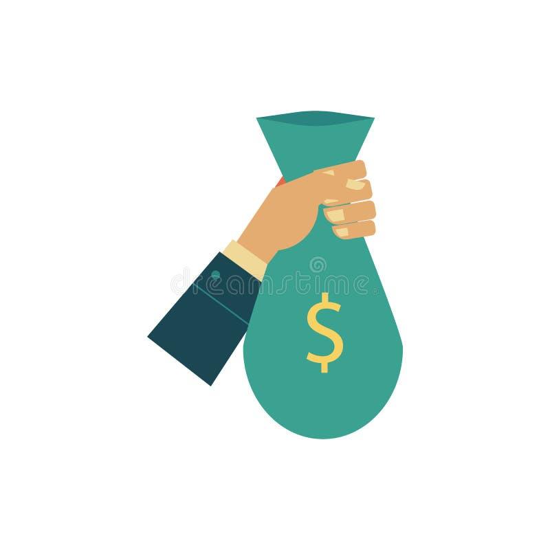 Wektorowa płaska mężczyzna ręki mienia pieniądze torba ilustracja wektor