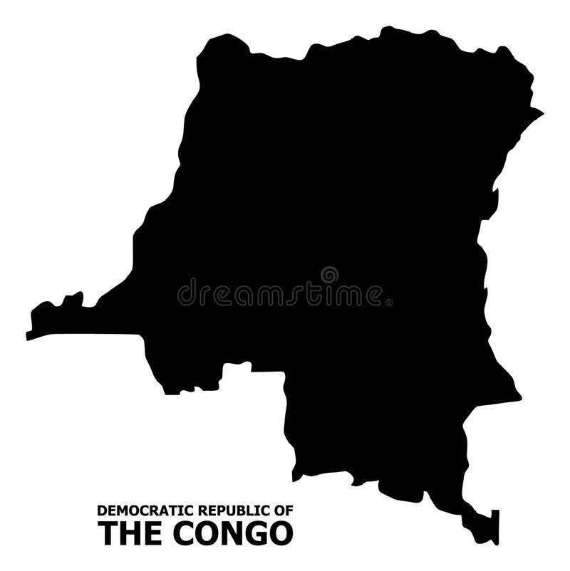 Wektorowa Płaska mapa Demokratyczna republika Kongo z podpisem royalty ilustracja