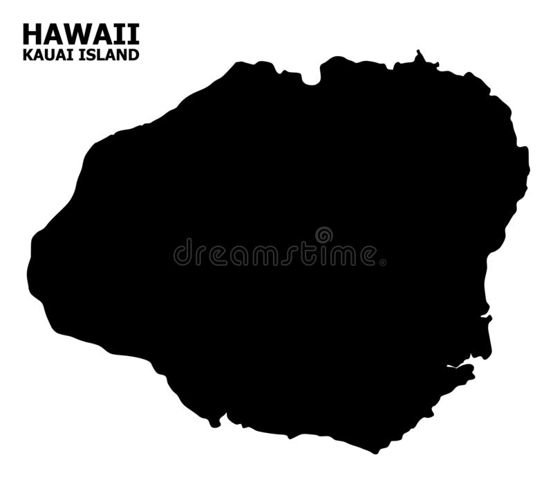 Wektorowa Płaska mapa Kauai wyspa z podpisem ilustracja wektor