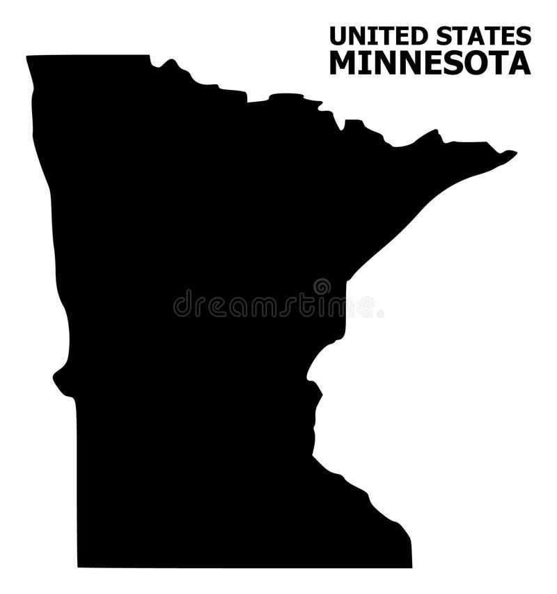 Wektorowa Płaska mapa Minnestoa stan z podpisem ilustracja wektor