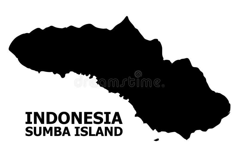 Wektorowa Płaska mapa Sumba wyspa z podpisem ilustracja wektor