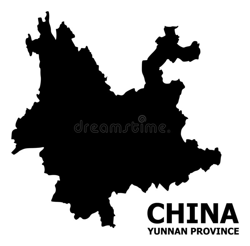 Wektorowa Płaska mapa Yunnan prowincja z imieniem ilustracja wektor