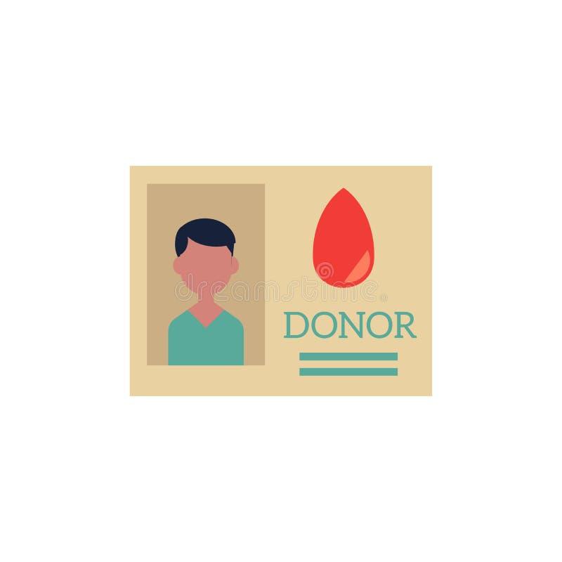 Wektorowa płaska ofiarodawca karty identyfikacyjna ikona ilustracji