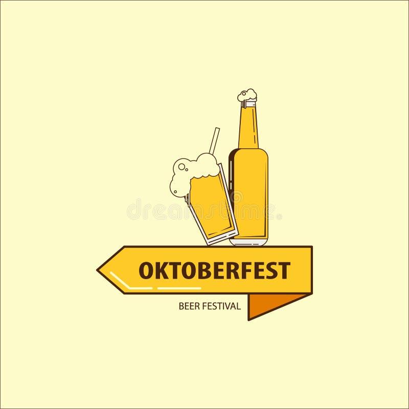 Wektorowa płaska oktoberfest logo ilustracja z szklaną butelką dla piwnego festiwalu i piwem Oktoberfest loga ikona royalty ilustracja