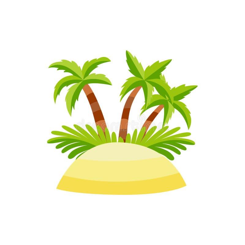 Wektorowa płaska piasek wyspa z drzewko palmowe koksem ilustracji