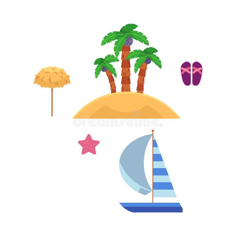 Wektorowa płaska podróżowanie plaży wakacje symboli/lów ikona ilustracji