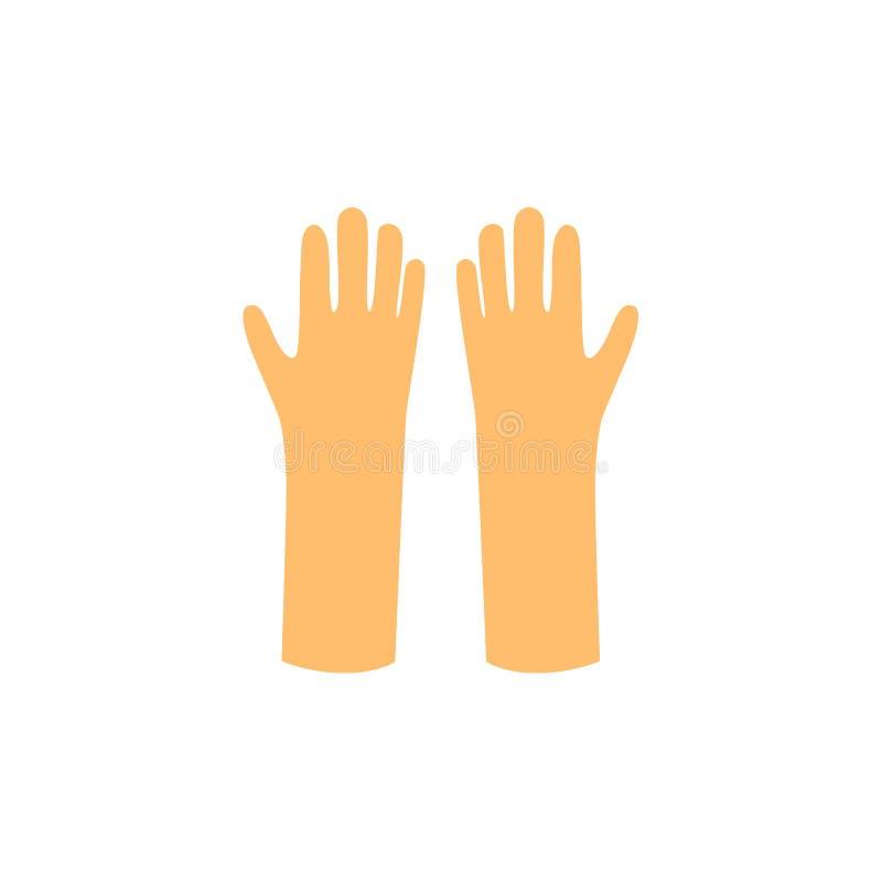 Wektorowa płaska pracująca gumowa rękawiczki ikona ilustracja wektor