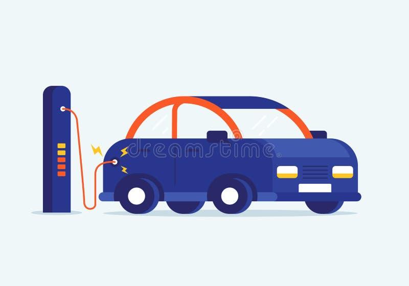 Wektorowa płaska projekt ilustracja ładować nowożytnego electro samochód przy stacją ilustracja wektor
