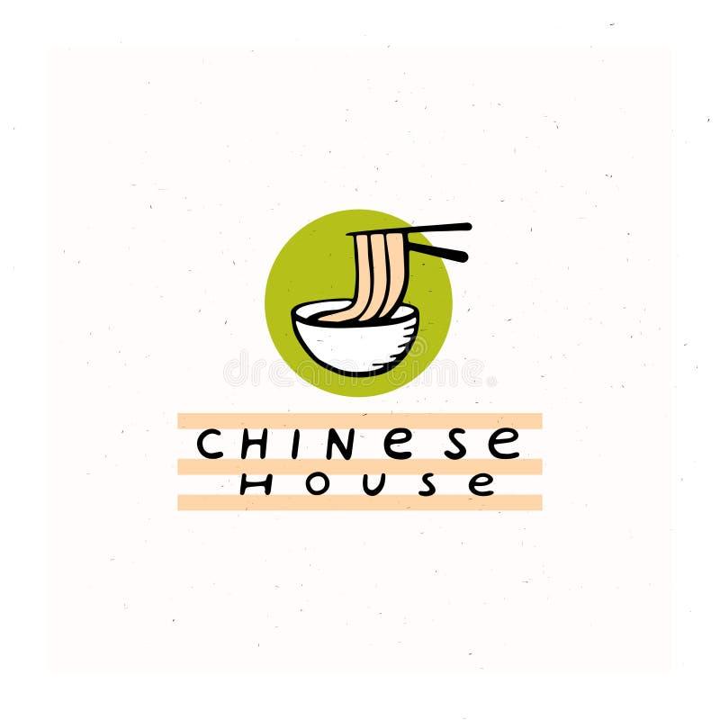Wektorowa płaska ręka rysujący chiński karmowy restauracyjny logo z kijami, kluski i puchar odizolowywający na białym textured tl royalty ilustracja