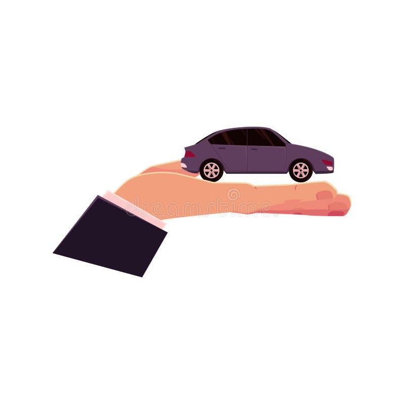 Wektorowa płaska ręki mienia samochodu ikona royalty ilustracja