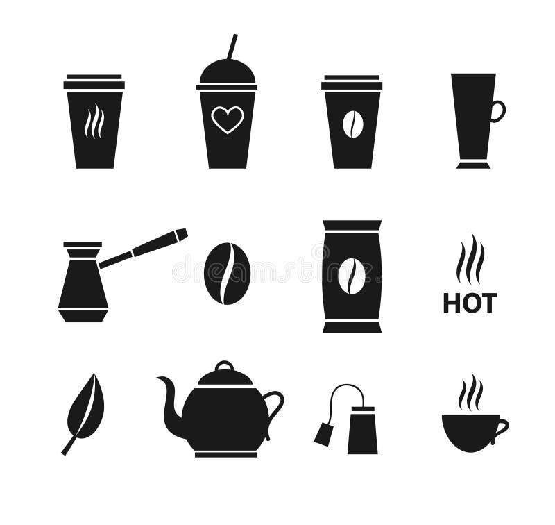 Wektorowa płaskiego czerni ustalona kolekcja kawa i herbata ilustracja wektor