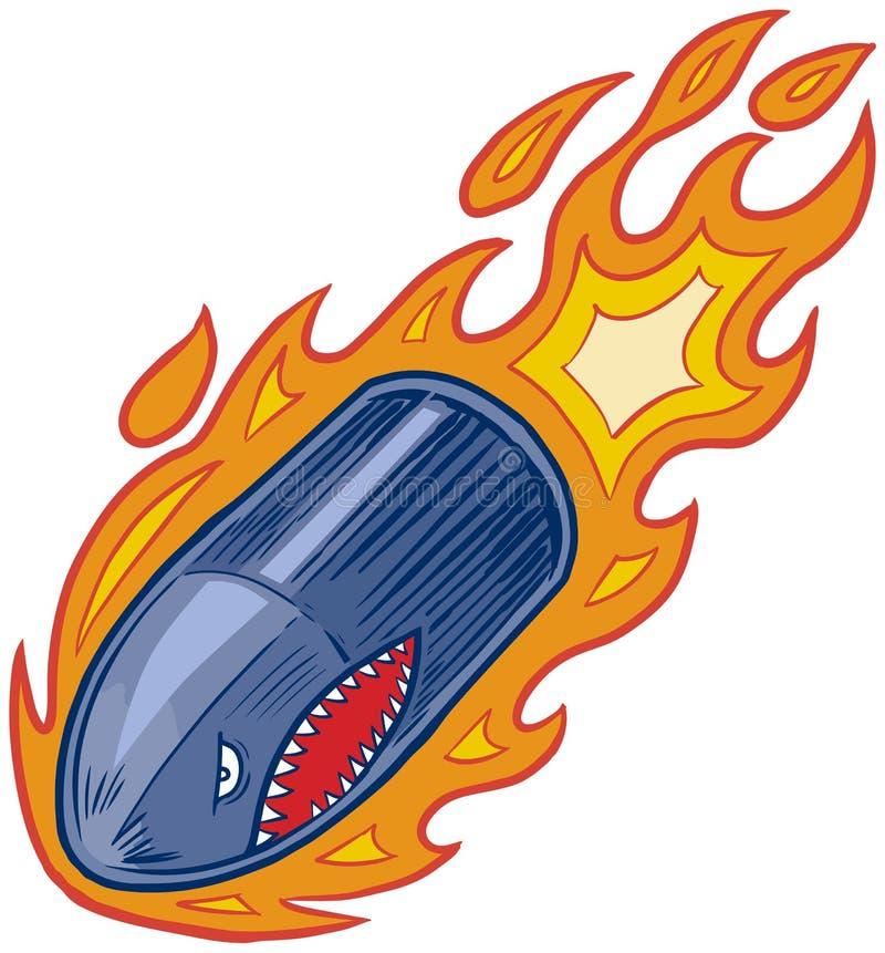 Wektorowa Płomienna pociska lub pociska artyleryjnego maskotka z rekin twarzą royalty ilustracja