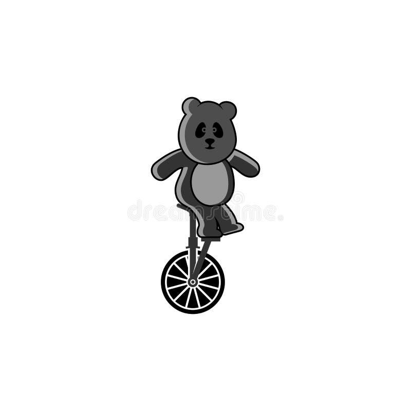 Wektorowa panda bawić się jeden kołowego bicykl ilustracji