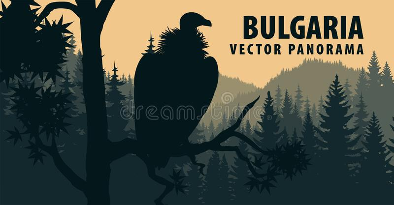 Wektorowa panorama Bułgaria z gryfonu sępem ilustracja wektor
