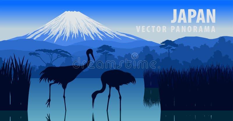 Wektorowa panorama Japonia z halnym Fuji i żuraw na Kawaguchiko jeziorze royalty ilustracja