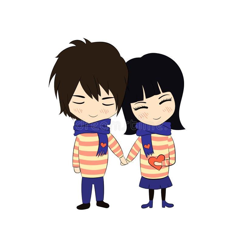 Wektorowa para w miłości, Doodle Rysunkowej dziewczynie i chłopiec chwyta rękach, Kolorowa ilustracja Odizolowywająca royalty ilustracja