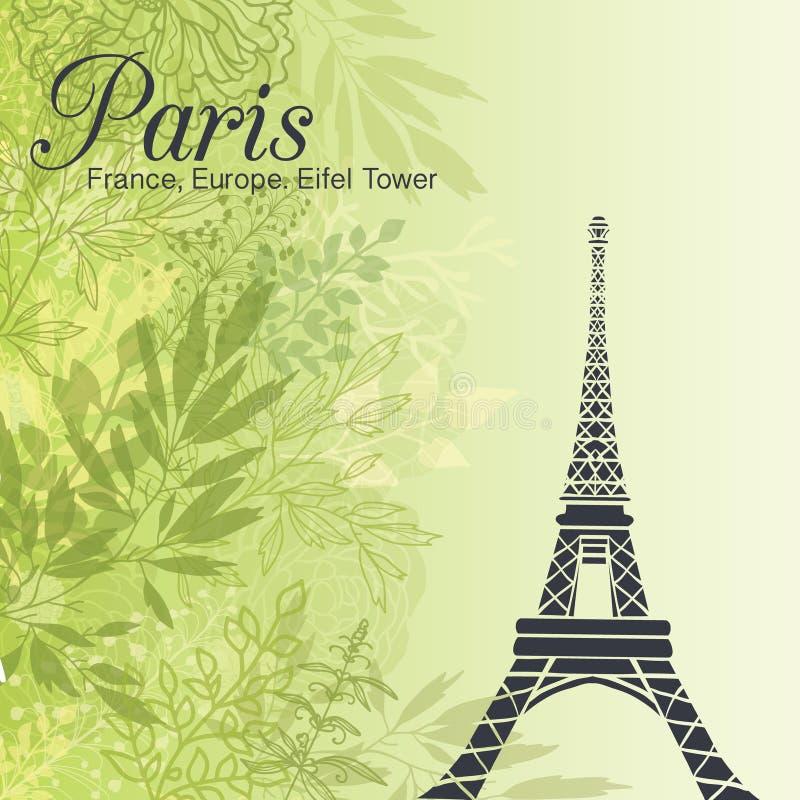 Wektorowa Paryska wieża eifla Na Zielonym liść wiosny tle royalty ilustracja