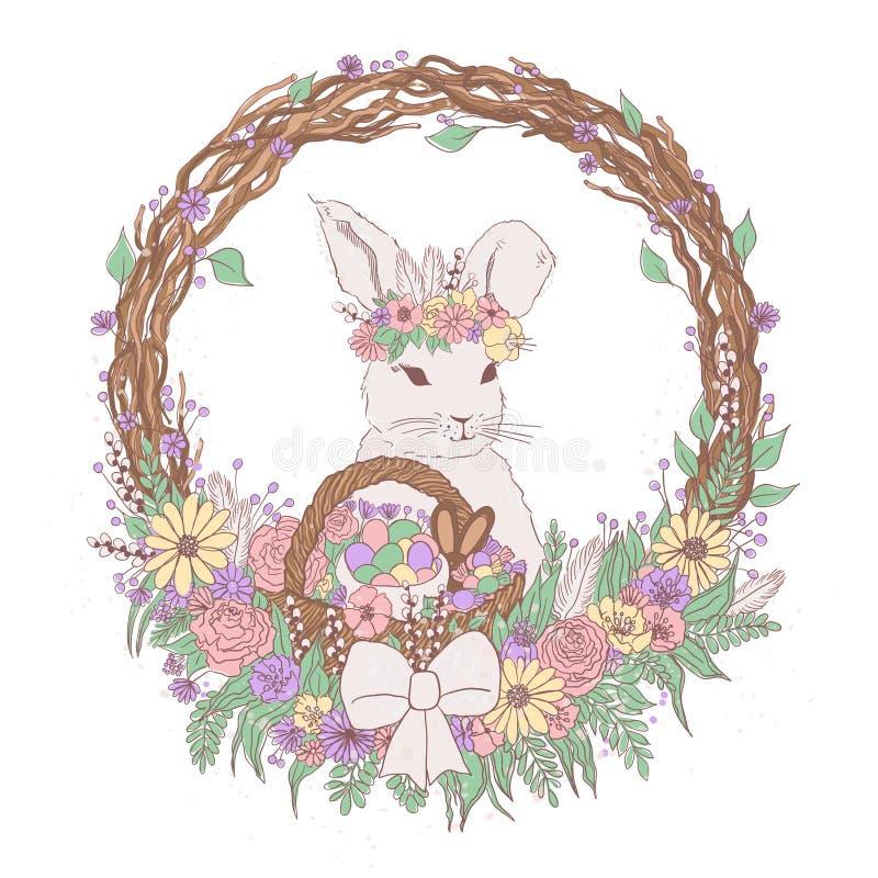 Wektorowa pastelowa kwiecista Easter królika ilustracja z kwiatami, Easter jajka, kosz, wianek, czekoladowi cukierki kolorowa Eas ilustracja wektor