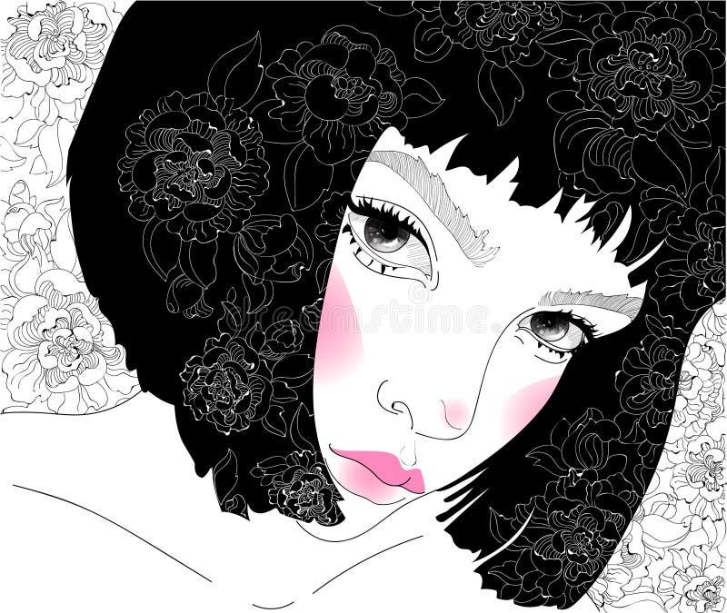 Wektorowa piękna dziewczyna z kwiecistymi wzorami i koczkiem ilustracji