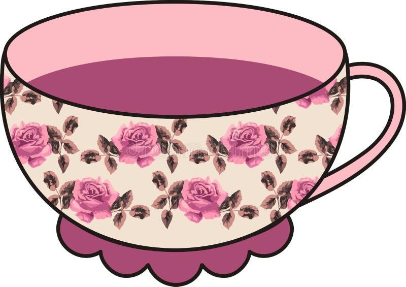 Wektorowa piękna kwiecista różana filiżanka herbata. ilustracji