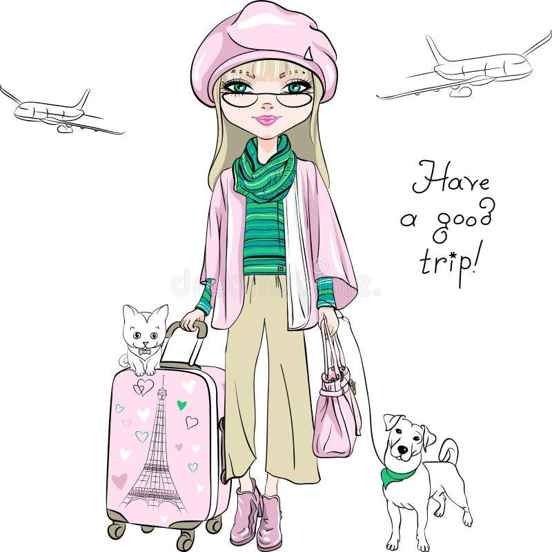 Wektorowa piękna mody dziewczyna podróżuje świat ilustracja wektor
