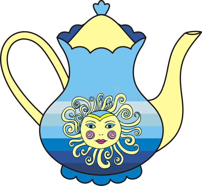 Wektorowa piękna słońce filiżanka herbata royalty ilustracja