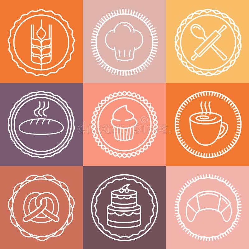 Wektorowa piekarnia, ciasto ikony i emblematy i ilustracja wektor