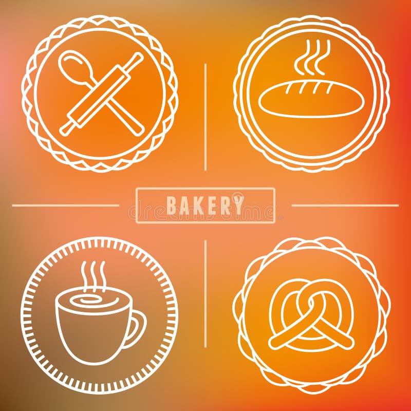 Wektorowa piekarnia, ciasto ikony i emblematy i royalty ilustracja
