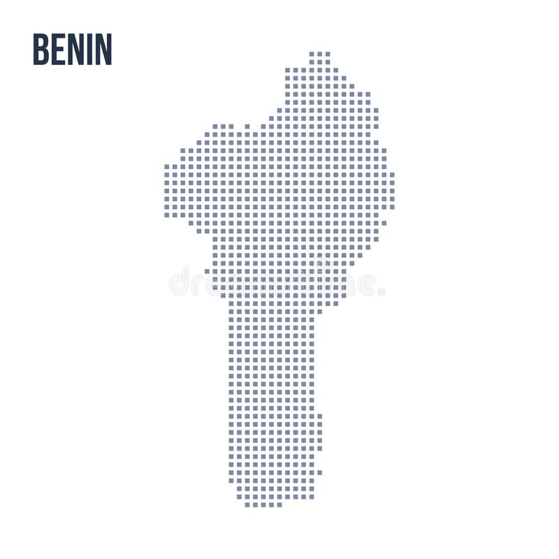 Wektorowa piksel mapa Benin odizolowywał na białym tle ilustracji