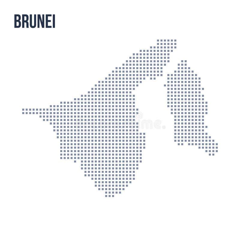 Wektorowa piksel mapa Brunei odizolowywał na białym tle ilustracji