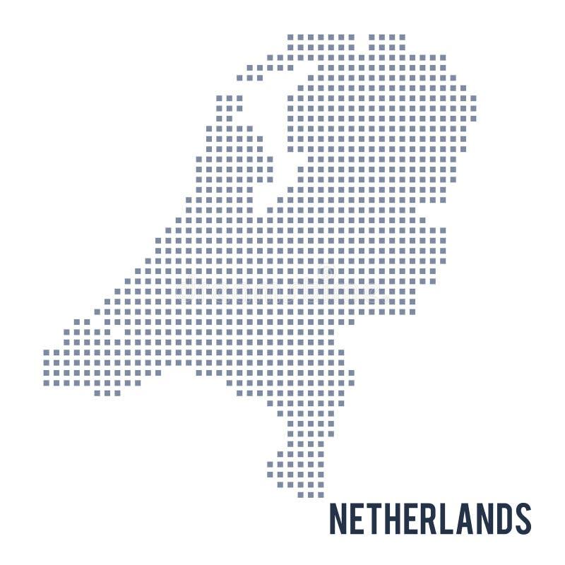 Wektorowa piksel mapa holandie odizolowywać na białym tle ilustracja wektor