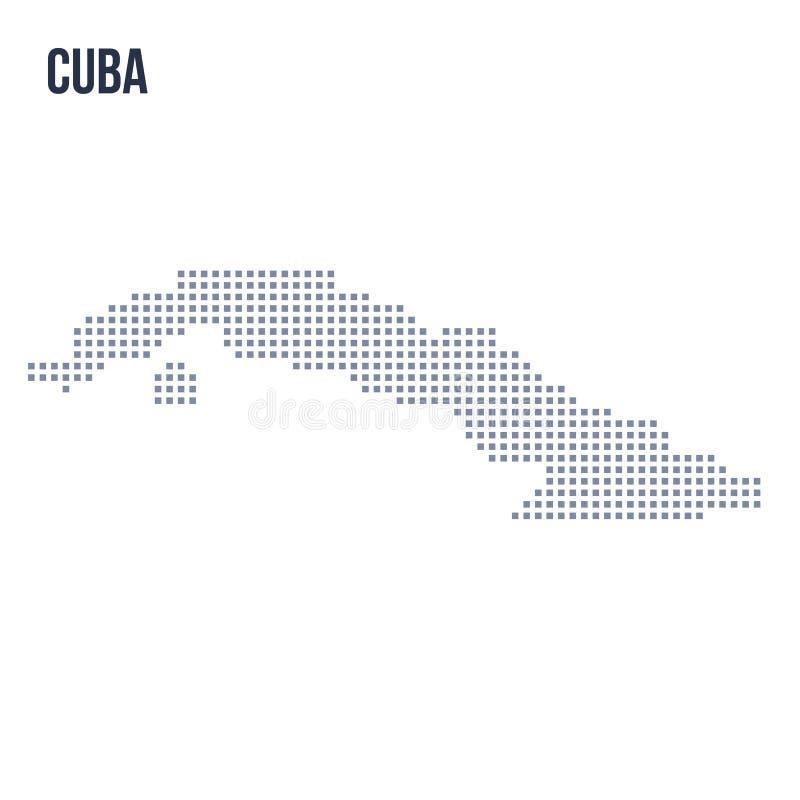 Wektorowa piksel mapa Kuba odizolowywał na białym tle royalty ilustracja