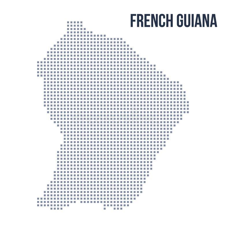 Wektorowa piksel mapa odizolowywająca na białym tle Francuski Guiana ilustracji