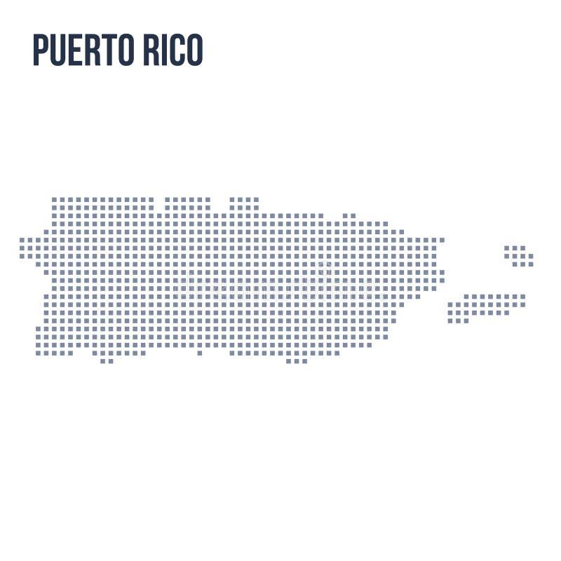 Wektorowa piksel mapa odizolowywająca na białym tle Puerto Rico ilustracji
