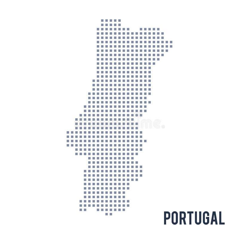 Wektorowa piksel mapa Portugalia odizolowywał na białym tle royalty ilustracja